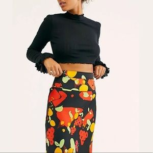 Free People Colorful Fruit Satin Skirt